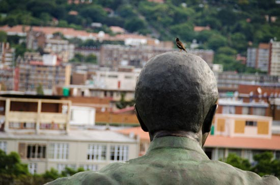 Nelson Mandela and the little bird on his head