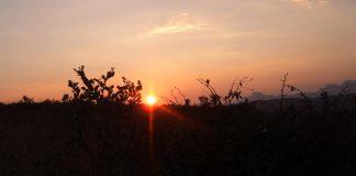 Sun setting in Bulawayo, Zimbabwe